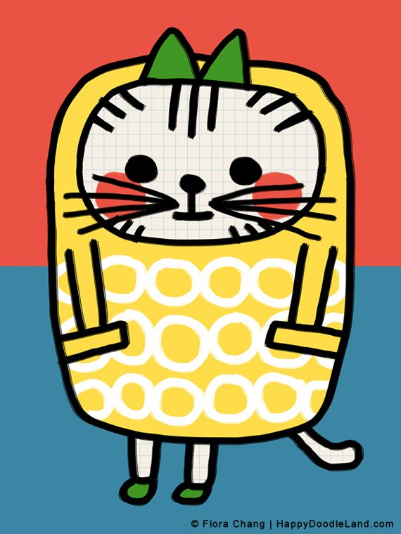 "Kitty in Yellow Coat, art print by flora chang | Happy Doodle Land, available in size 8""x10"" or 12""x16"""