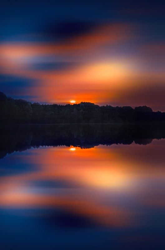 Lake Sunset - title Colors in the evening! - by Stefan Kierek -reflections