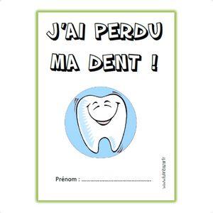 Fichette et petit livre pour garder en mémoire toutes ses dents de lait perdues