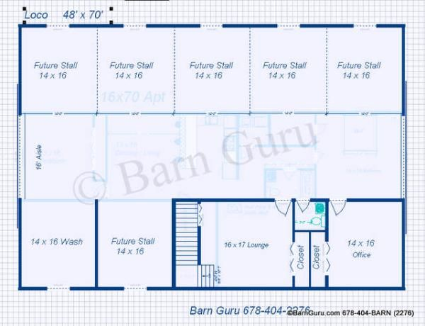6 stall horse barn plans like except the lounge part for Equestrian barn plans