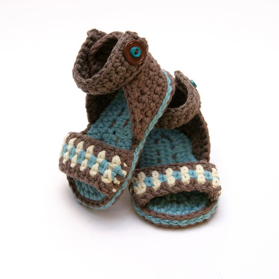 Blue and Brown  Sweet Summer Sandals  0 to 6 by BlissfulMondays, $20.00