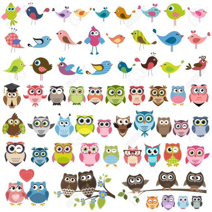 Satz Von Cartoon Bunte Vögel Und Eulen Lizenzfrei Nutzbare Vektorgrafiken, Clip Arts, Illustrationen. Image 57338450.