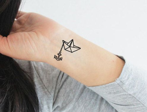 4 paper boat and anchor temporary tattoos by for Fake neck tattoo