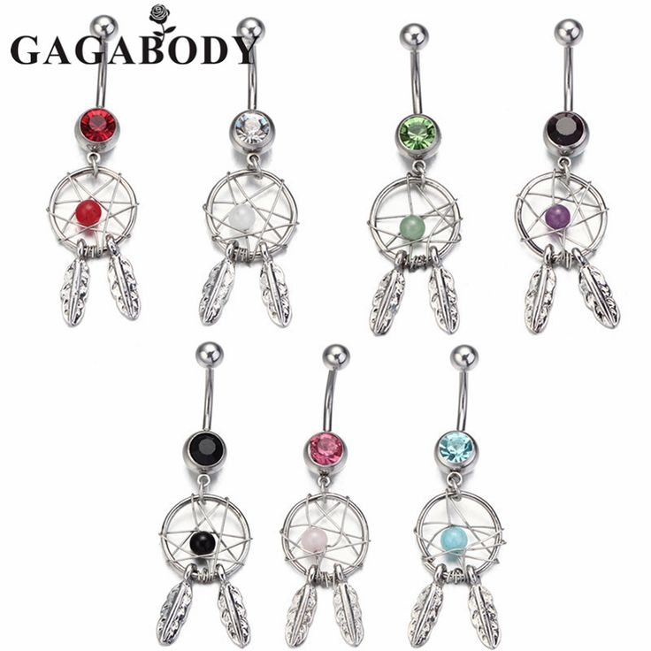 2017 Body Jewelry Crystal Gem Dream Catcher Navel Dangle Belly Barbell Button Bar Ring Body piercing