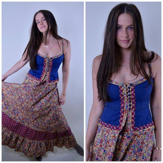 Vintage Gunne Sax Boheemse Festival jurk / / VTG door ELZORAMARKET
