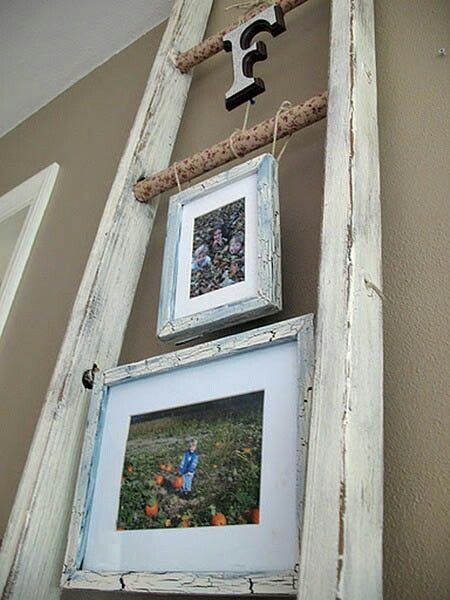 Weathered frames hung from old ladder.