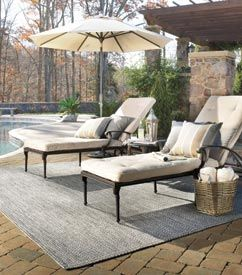 Relaxing pool side furniture, featuring our Sea Glass Rug! http://www