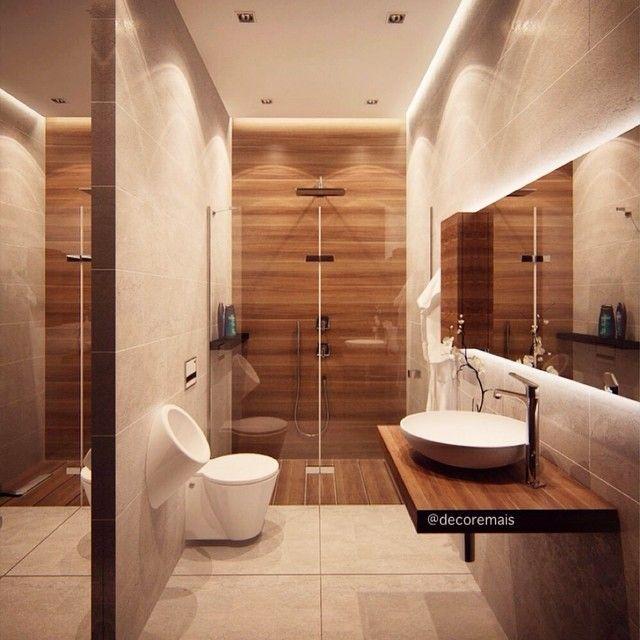 WEBSTA @ decoremais - Amo revestimento imitando madeira no banheiro! Fica super moderno e aconchegante! ❤️🚿