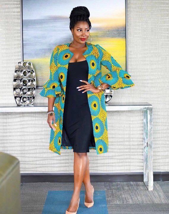4aef8fe8d71ab African women jacket/ Kimono jacket/ African print cape/ Ankara jacket/