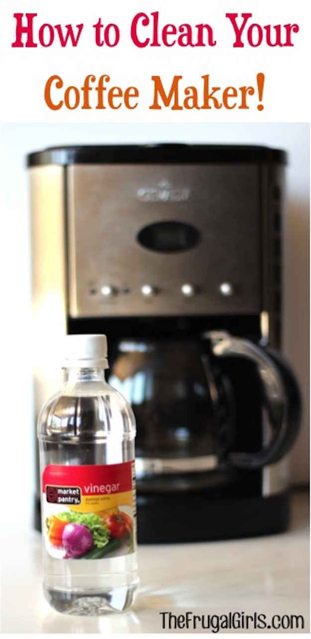 Clean the inside of your coffee pot by running vinegar through the brew cycle.