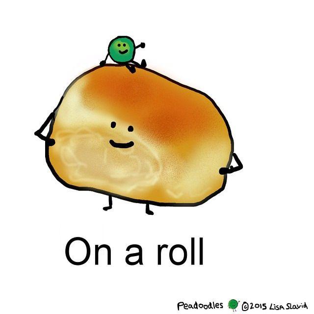 #peadoodles #onaroll #roll #pea #success #punny #punning #foodcartoon #foodcartoon #foodpun