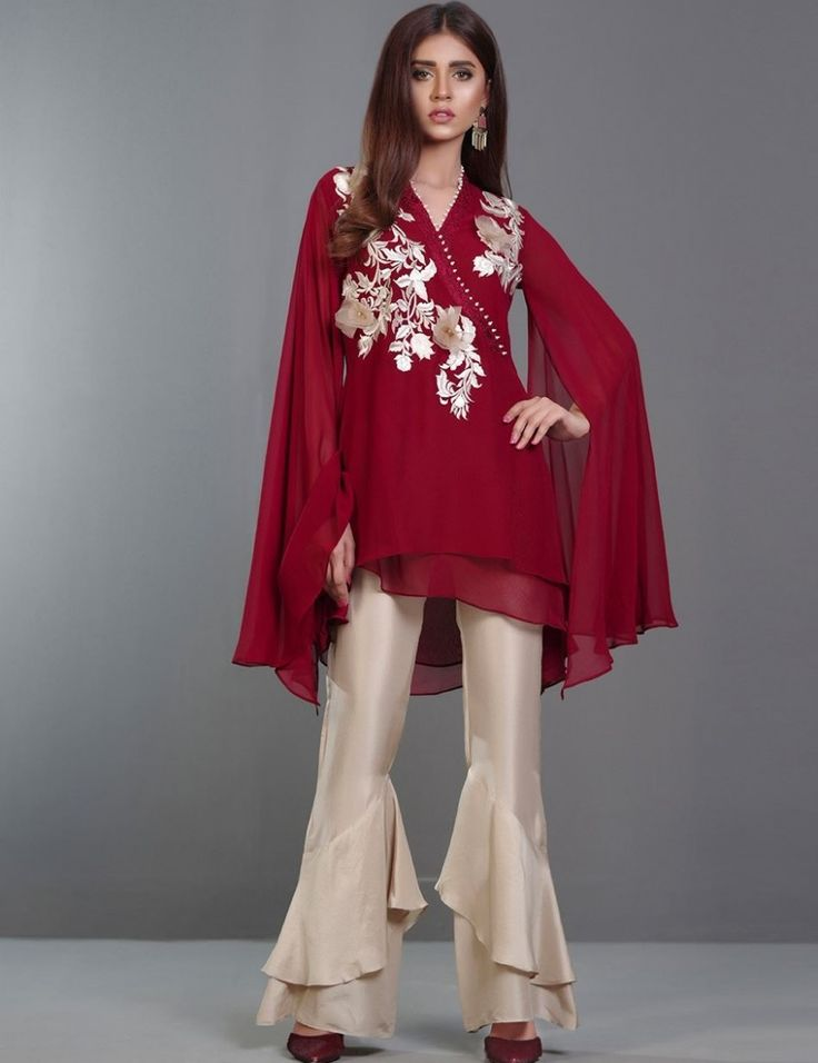 Maroon chiffon top with 3D organza floral embroidery for Eid