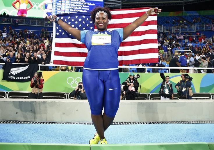 Michelle Carter wins gold in the women's shot put. 2nd American to medal in the event (Earlene Brown, Bronze 1960)