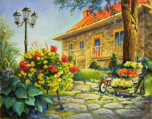 Peinture medium pastel sec jos e tellier le jardin for Jardin sec