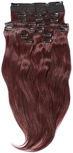Enjoy exclusive for YONNA Remy Human Hair Clip Extensions Wine Red Double Weft Long Soft Straight 10 Pieces Thick Ends Full Head 24inch 220g online