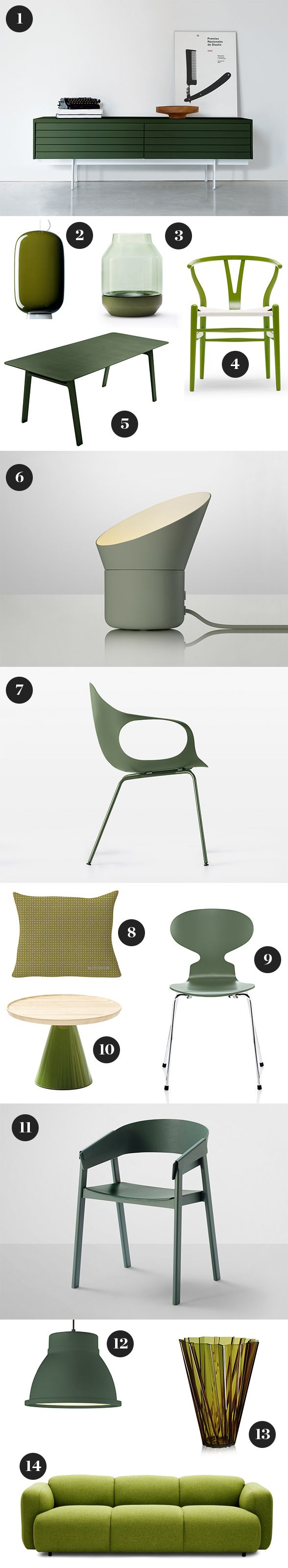1. Punt Sussex Low Sideboard 2. Foscarini Chouchin 2 Suspension Light 3. Muuto Elevated Vase 4. Carl Hansen CH24 Wishbone Chair Citrus Version 5. Casamania Pontoon Table 6. Muuto Up Lamp 7. Kristalia Elephant Chair 8. Vitra Square Diamonds Cushion 9. Fritz Hansen Ant Chair with 4 Legs 10. Sancal Pion Side Table 11. Muuto Cover Chair 12. Muuto Studio Pendant Light 13. Kartell Shanghai Vase 14. Normann Copenhagen Swell Three Seater Sofa