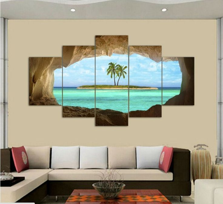 2017 Wall Art Oil Painting 5 Pieces cave sea island coconut Palm tree Painting Room Decoration Print Picture Canvas