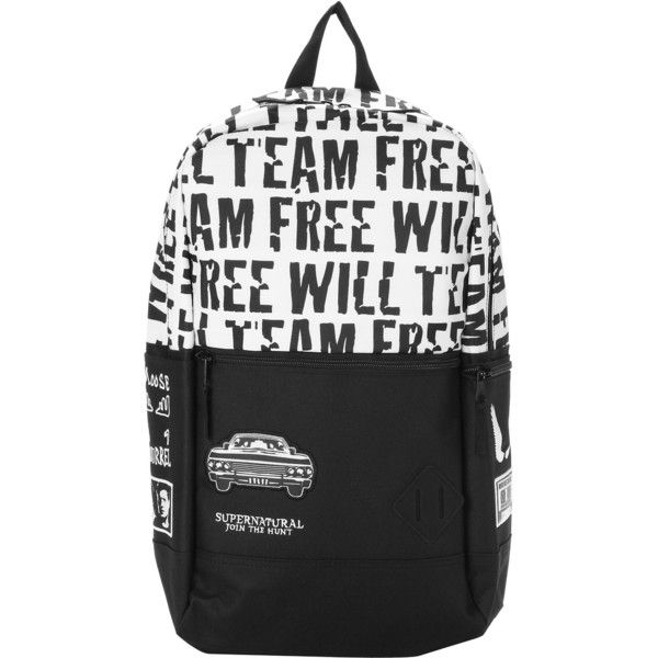 Supernatural Team Free Will Flat Front Backpack Hot Topic ($32) ❤ liked on Polyvore featuring bags, backpacks, knapsack bag, day pack backpack, rucksack bag, embroidered bags and black and white bag