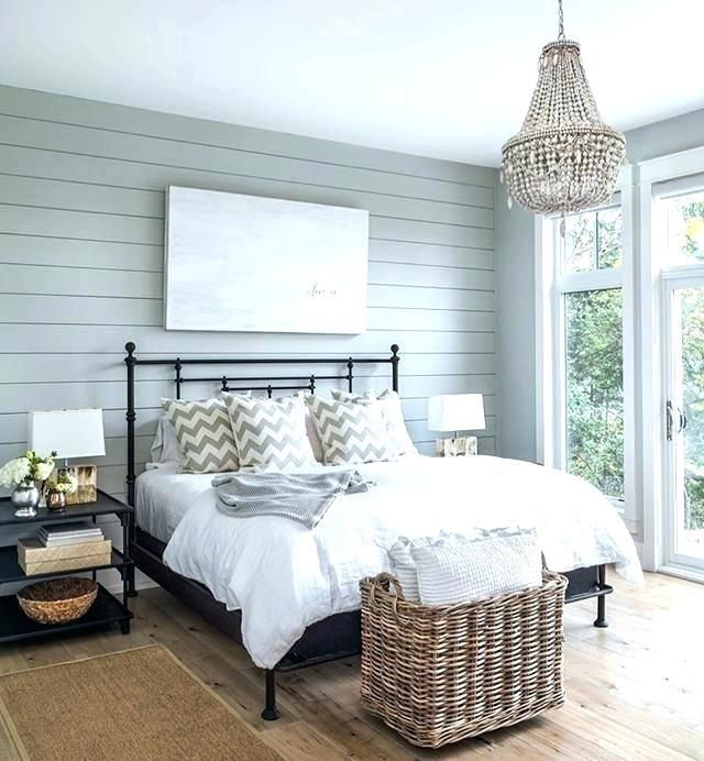 Rustic Queen Bed With Black Accent Wall Images: Master Bedrooms With Shiplap Bedroom Blue Wall With Black