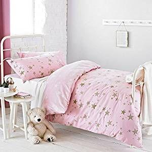 Textile Warehouse Constellation Star Gold Rose Pink Girls Kids Childrens Duvet Quilt Cover Bedding Set Single: Amazon.co.uk: Kitchen & Home