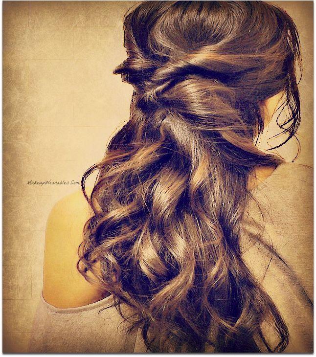 Quick & Easy Hairstyles for School, for Work. 3 Min Half-Up, Half-Down, Twist Updo Hairstyle for Medium Long Hair Tutorial #hairstyles #hair #hairtutorial #updos #updo #hairstyle #braid #longhair #mediumhair #wedding #bridal #curls #hairtutorial #hairdos #peinado #coiffure #bridesmaid #hairdo #prom #homecoming #formal #party #bighair #victoriasecrethair