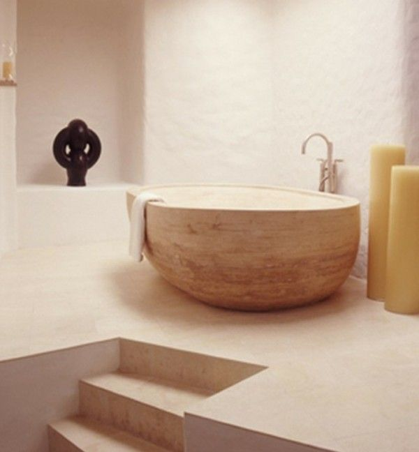 Bathroom,Mediterranean Bathroom Design Ideas With Small Rock Bowl Bathtub And Charming Faucet,Inspirational Rock Bathtub Design Ideas 2014