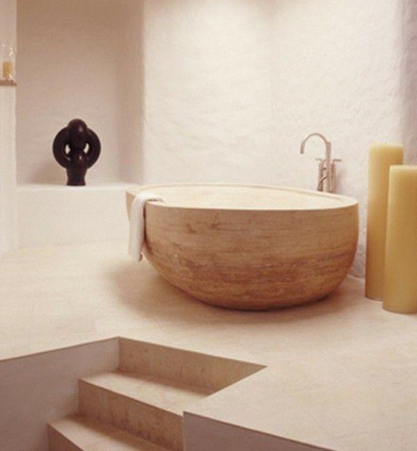Bathroom,Mediterranean Bathroom Design Ideas With Small Rock Bowl Bathtub And Charming Faucet,Inspirational Rock Bathtub Design Ideas 2014