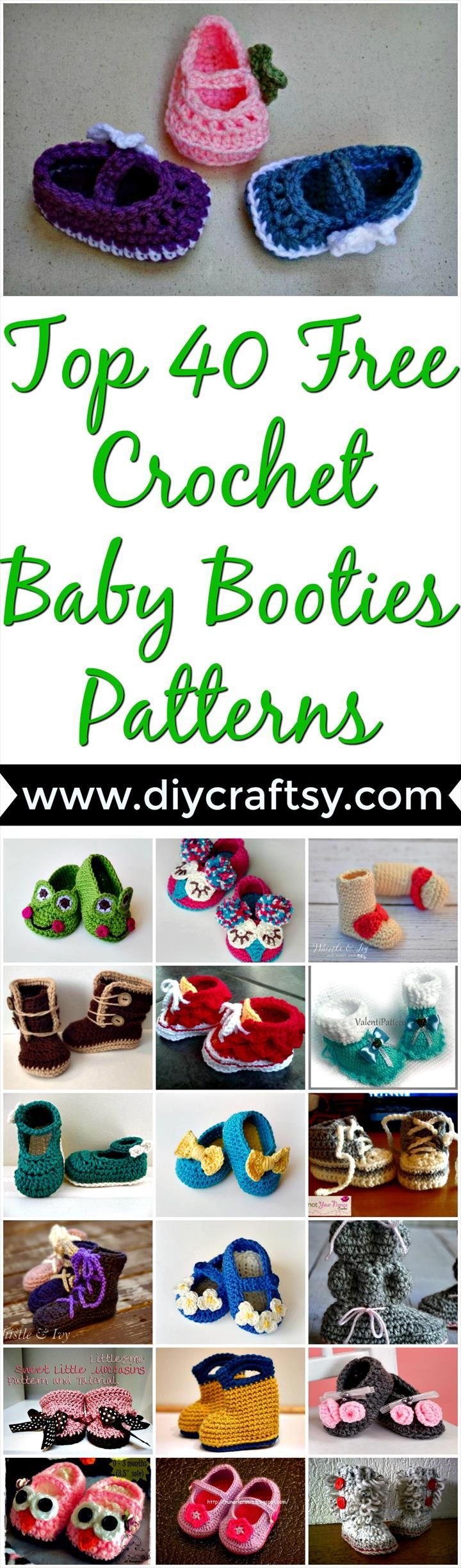 Top 40 Free Crochet Baby Booties Patterns- DIY & Crafts