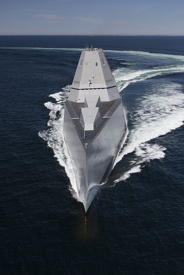 The future guided-missile destroyer USS Zumwalt (DDG 1000) transits the Atlantic Ocean to conduct acceptance trials with the Navy's Board of Inspection and Survey (INSURV).