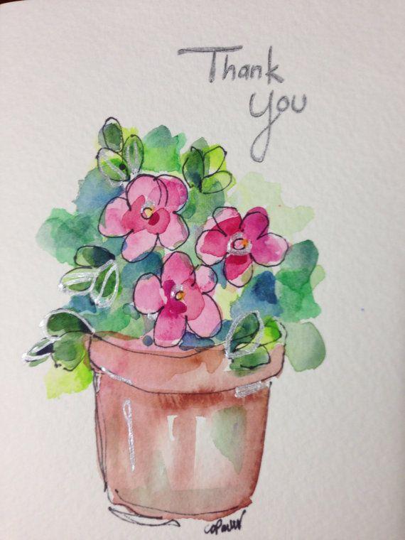 Danke Aquarell-Karte von gardenblooms auf Etsy