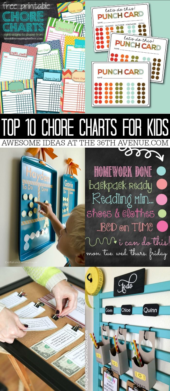 Top Chore Chart for kids. Help kids remember to do their chores with these printables.