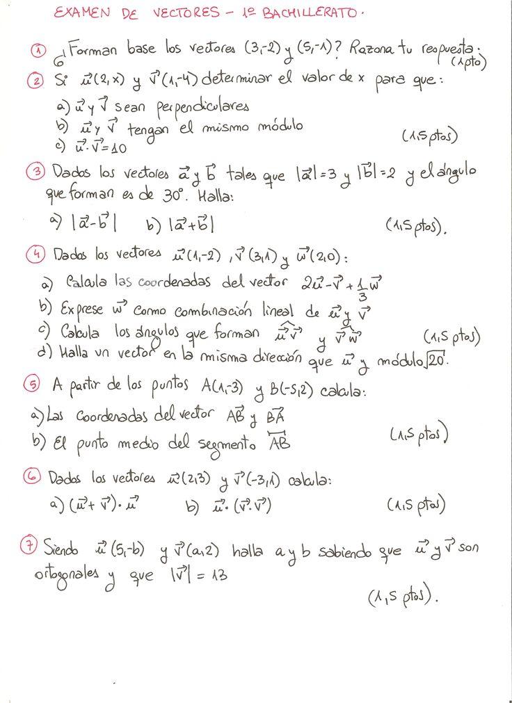 Examen propuesto de Vectores, nivel de primero de bachillerato