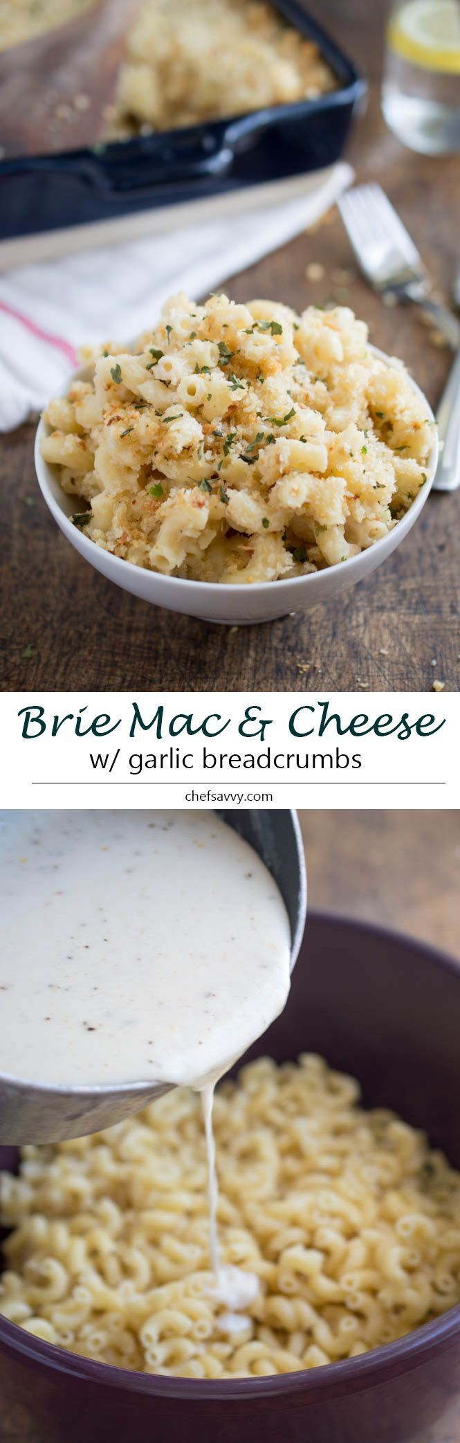 Serve this sophisticated oven-baked macaroni and cheese with a side of salad greens or steamed broccoli.   recipe for Three Cheese Mac and Cheese With Garlic Panko Breadcrumbs from Kelley at Chef Savvy