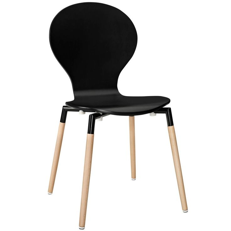 The Denpasar dining chair is made of a fiberboard frame and four solid beech wood legs. Also available in red and white.