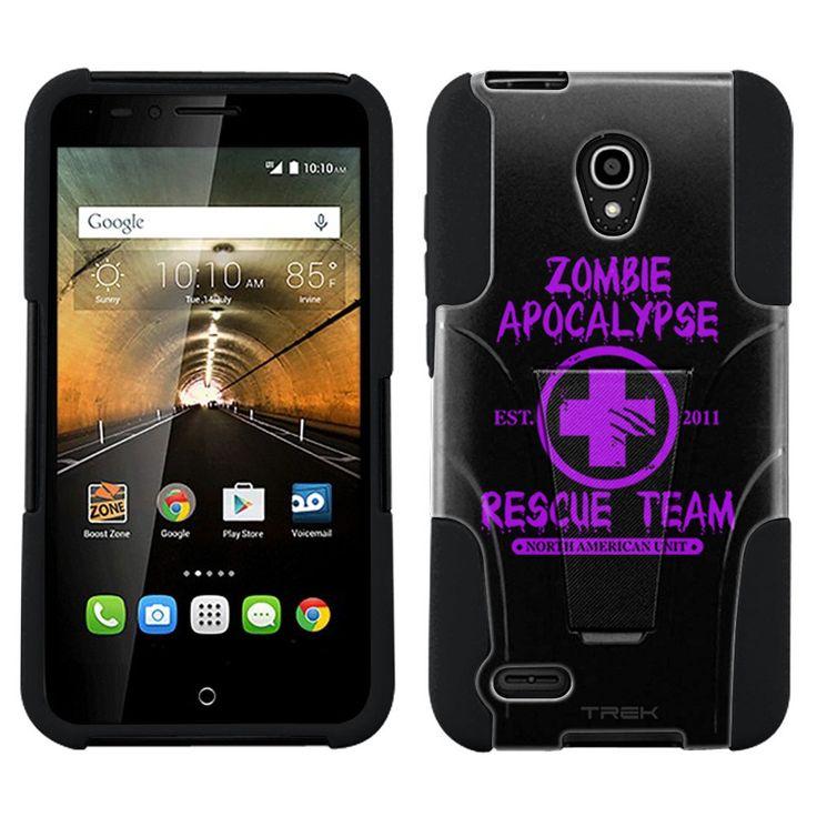 Alcatel OneTouch Conquest Zombie Apocalypse 2012 Rescue Team Purple on Black Hybrid Case