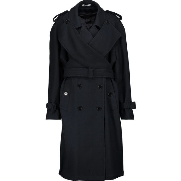 J.W.Anderson Wool-blend twill trench coat ($625) ❤ liked on Polyvore featuring outerwear, coats, midnight blue, double breasted coat, petite coats, twill trench coat, j.w. anderson and petite trench coat