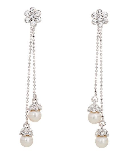 Silver & White Gentle Earrings Made With SWAROVSKI ELEMENTS