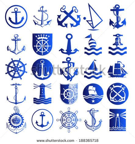Anchor icons / Set of anchor symbols or logo template vector / Anchor stencil vector / Nautical Anchor vector isolated white, blue / anchor illustrations / t-shirt graphics - stock vector