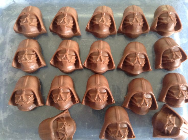 Darth Vader chocolates - sourced the molds from Ebay then filled with melted milk chocolate.