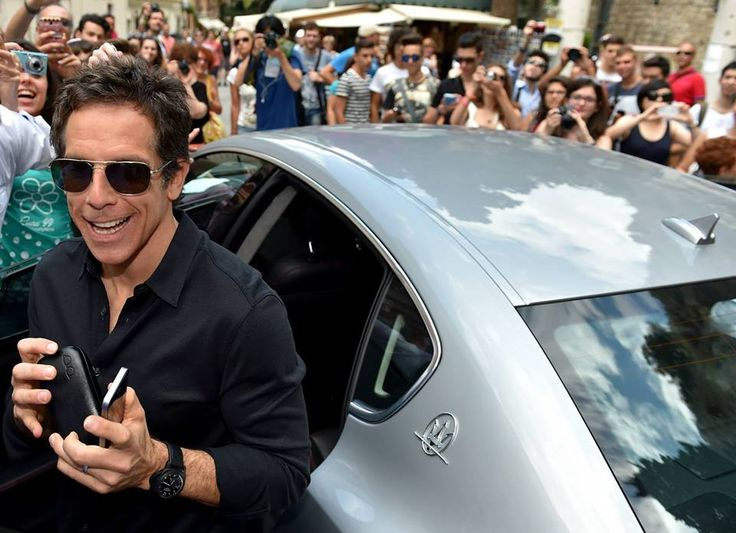 Ben Stiller chauffeured to the Taormina Film Fest in a Maserati Quattroporte.