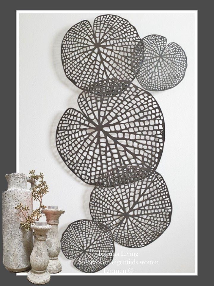 Wanddecoratie Metaal Lotusblad Diep Donkerbruin 98x50x5cm Woonkamer Decoratie Wanddecoraties Grote Muren