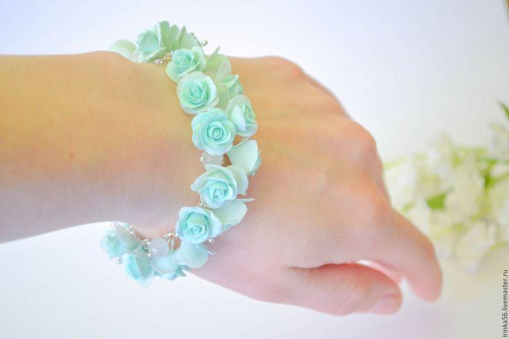 """Купить Браслет """"Мята"""" - мятный, мята, браслет мятный, мятное, розы мятные, розочки"""