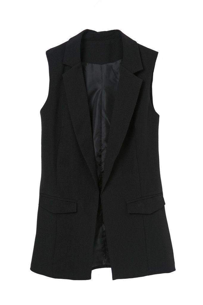 Black Sleeveless Tailored Vest