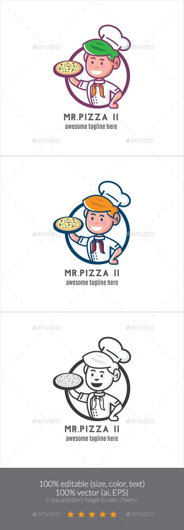 Mr. Pizza II Logo Mascot