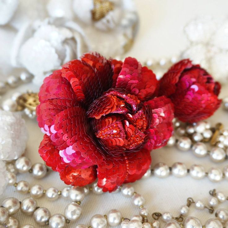Red Camellia #tambourbeading #lunevilleembroidery #corsagemaking #coutureembroidery