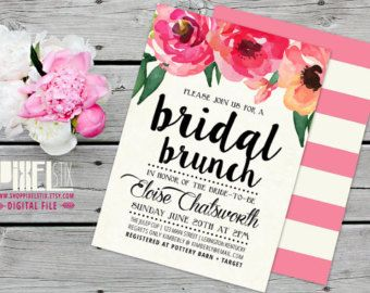 Rustic Floral Bridal Shower Invitation Watercolor by shopPIXELSTIX