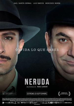 """CINE(EDU)-967. Neruda. Dir. Pablo Larraín. Biografía. Chile, 2016. En 1948, o senador e escritor Pablo  Neruda acusa o goberno chileno de traizoar aos comunistas no congreso. O presidente González  Videla o  desafuera e ordena a súa captura. O poeta emprende a fuxida do país xunto á súa muller. Mentres é perseguido polo prefecto da policía,  Neruda comeza a escribir """"Canto xeral"""" e convértese en símbolo da liberdade e lenda literaria. http://kmelot.biblioteca.udc.es/record=b1654511~S3*gag"""