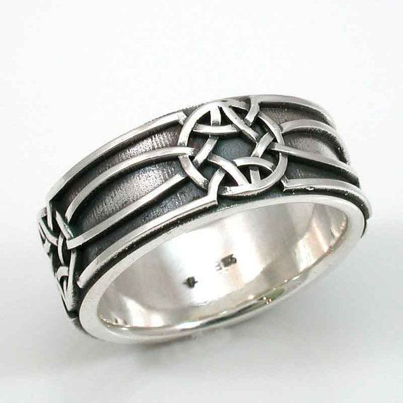Mens Silver Ring Celtic Knot Oxidized by SwankMetalsmithing, $225.00
