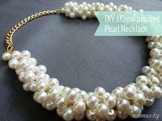 DIY collar de perlas corto (diferentes tamaños de parlas u enredarlas a través de la cadena te darán el efecto)