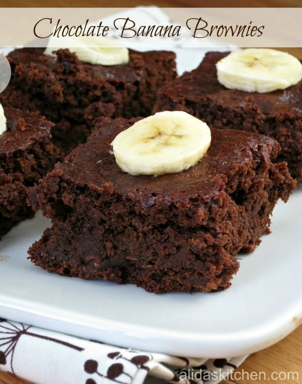 Chocolate Banana Brownies are so rich and fudgy, you would never guess they are low in fat (and can be made vegan)!   alidaskitchen.com